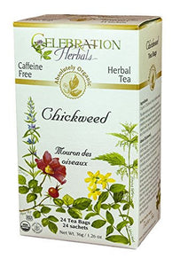 Celebration Herbals Organic Chickweed Herb Tea Caffeine Free, 24 Herbal Tea Bags