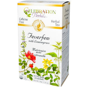 Celebration Herbals Organic Feverfew Lemongrass Tea Caffeine Free 24 Tea Bags