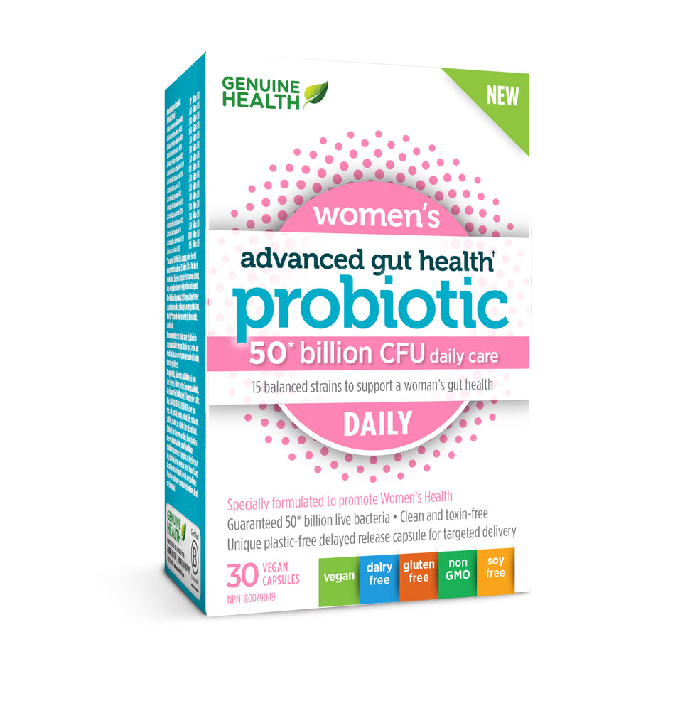 Genuine Health Women's Advanced Gut Health Probiotic 50 Billion 30 Vegan Caps