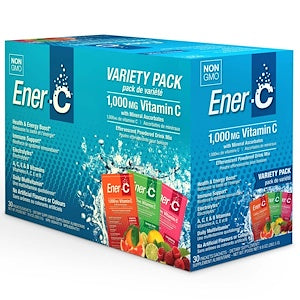 Ener-C 1000mg Effervescent Drink Mix  30 x 8.27 g Packs - Variety Packs