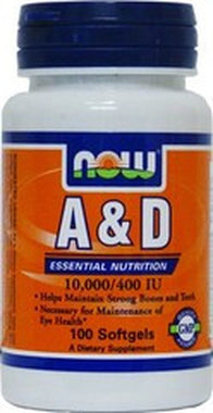 NOW Vitamin A and D 10,0000/400IU 100softgels