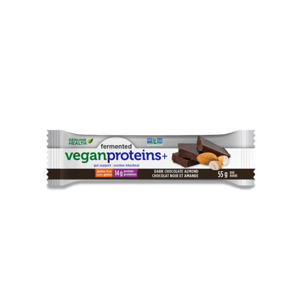 Genuine Health Fermented Vegan Protein+ Bars - Dark Chocolate Almond