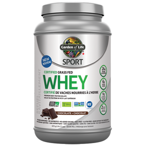 Garden of Life Sport Whey 672g Chocolate or Vanilla Certified Grass Fed