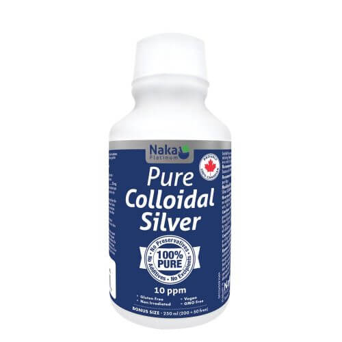 Naka Platinum Pure Colloidal Silver 10ppm 200+50mL (Bonus Size)
