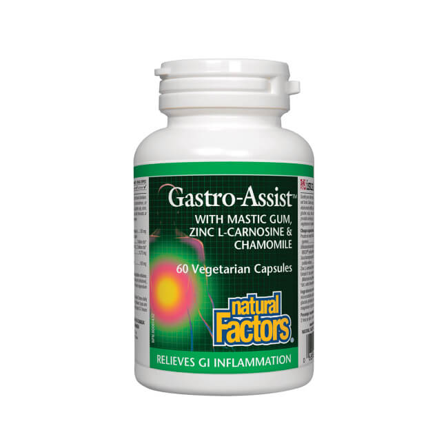 Natural Factors Gastro-Assist with Mastic Gum, Zinc L-Carnosine & Chamomile 60 Vegetarian Capsules