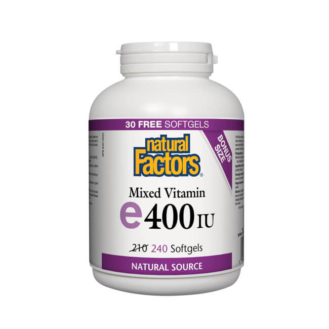 Natural Factors Mixed Vitamin E 400IU 240 Softgels Bonus Size