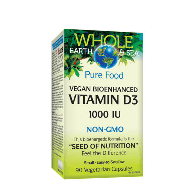 Natural Factors Whole Earth & Sea Vitamin D3 1000IU 90 Vegetarian Capsules