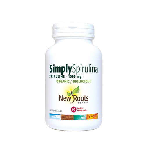 New Roots Simply Spirulina 1000mg Organic 90 Vegetable Capsules