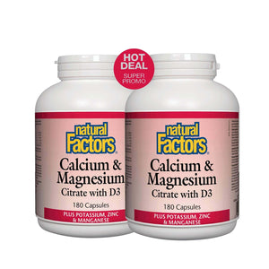 Natural Factors Calcium Magnesium Citrate with D3 180 Caps BOGO!