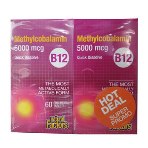 Natural Factors B12 Methylcobalamin 5000MCG 60 Quick Dissolve Tabs BOGO