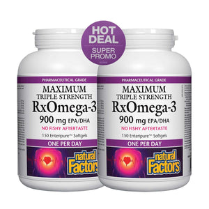 Natural Factors RxOmega-3 MAXIMUM Triple Strength 900mg EPA/DHA 150 softgels BOGO!