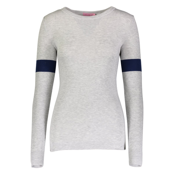Polkadot USA Womens Sophia Top in Heather Grey with Navy Stripe
