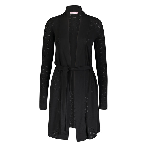 *Polkadot USA Womens Black Heart Pointelle Robe*
