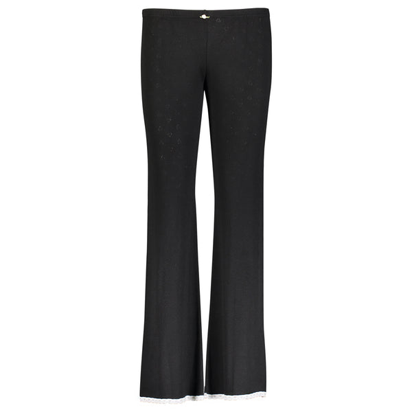 *Polkadot USA Womens Black Heart Pointelle Long Pant*