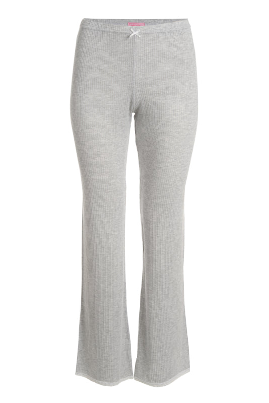 Polkadot RIB PANT Heather Grey w Lace Hems HI RISE