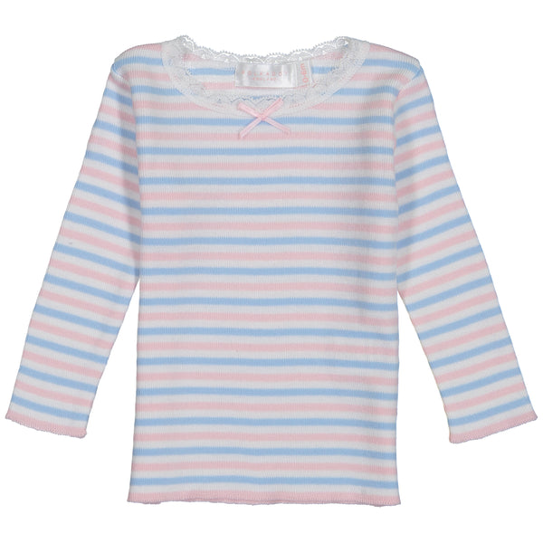 Polkadot BABY GIRLS PJ CREW LS Pink /Lt Blue /Cream Sailor Stripe w Lace