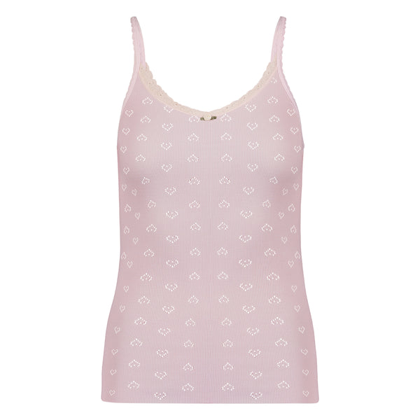 Polkadot CAMISOLE Shell Pink Vintage Hearts w Cluny Lace