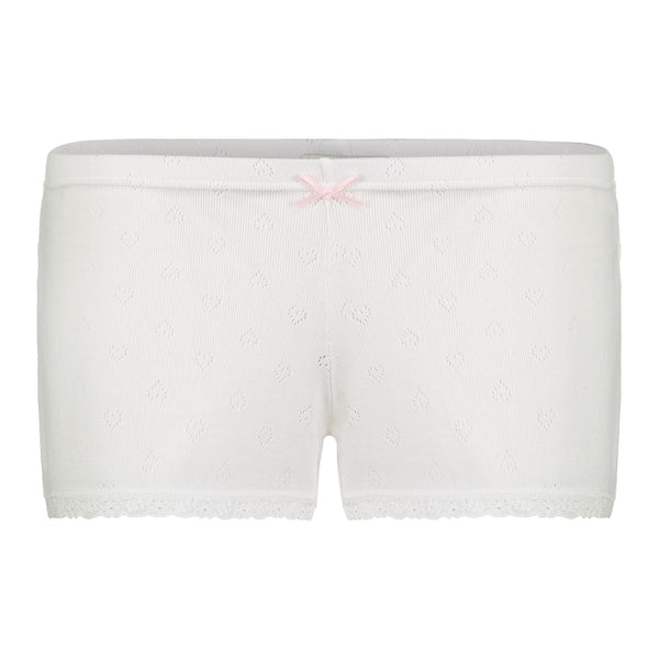 Polkadot SHORT Pearl White Vintage Hearts w Cluny Lace -MORE COMING
