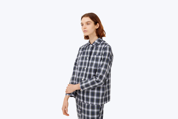 SLEEPY JONES Stewart Plaid Bishop Pajama Set