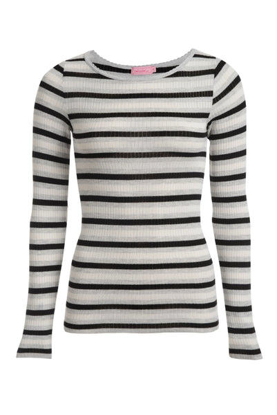 Polkadot CREW LS  Black Heather Lee Stripe