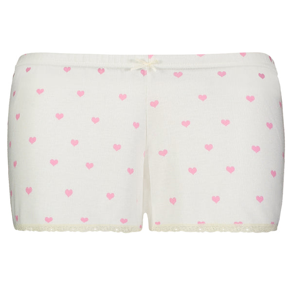 Polkadot HEARTS PRINT SHORT w Cluny Lace Hems - More Stock Coming Soon