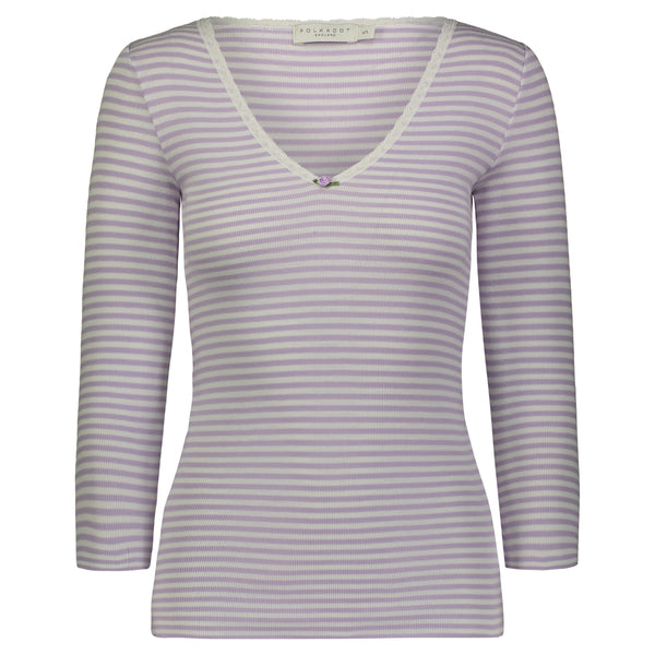 Polkadot V NECK 3/4 SLEEVE Lilac Sailor Stripe w Lace