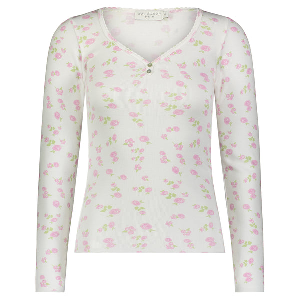 Polkadot PINK ROSE PRINT SWEETHEART Neck LS