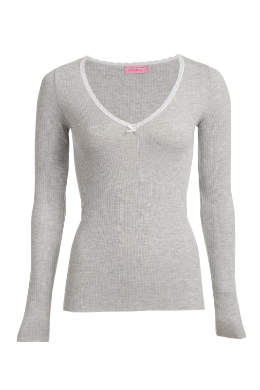 Polkadot RIB V NECK LS Top Heather Grey w Lace -IN STOCK