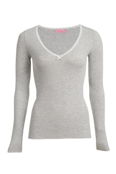Polkadot RIB V NECK LS Top Heather Grey w Lace
