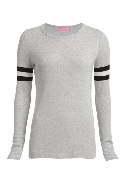 Polkadot SOPHIA SLOUCHY CREW LS Heather Grey w Black/Cream Slv Stripe