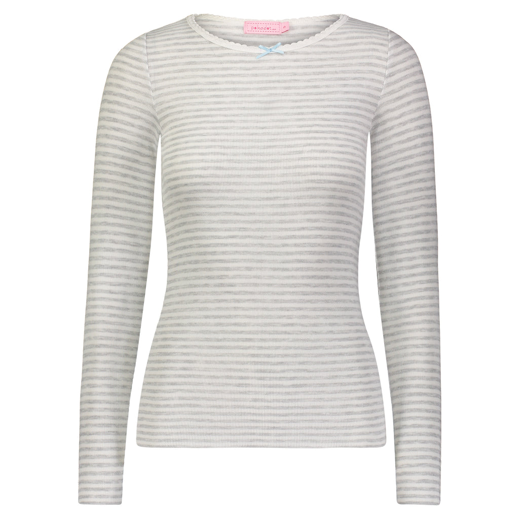 Polkadot CREW LS  Grey Sailor Stripe