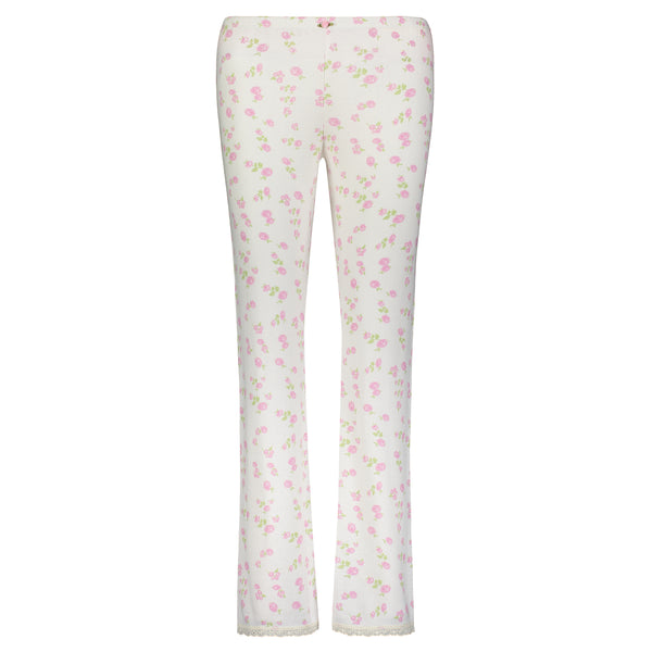 Polkadot ROSE PRINT PANT w Cluny Lace Hems -In Stock