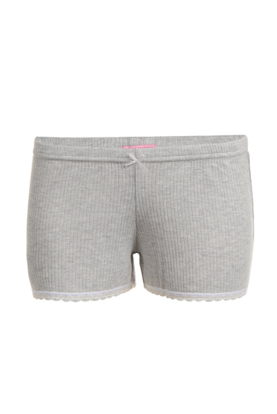 Polkadot RIB SHORT Heather Grey w Lace