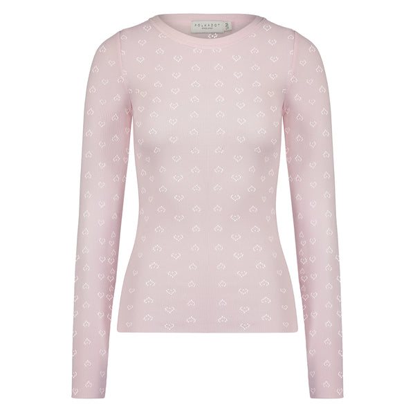 Polkadot SLOUCHY CREW LS Shell Pink Vintage Hearts