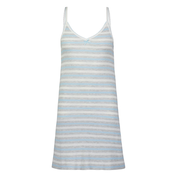 Polkadot CAMIDRESS Blue Lee Rib Stripe w Picot