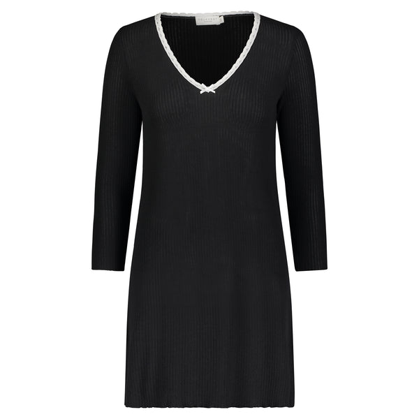 Polkadot BLACK RIB DRESS V 3/4 SLV w Ivory Lace