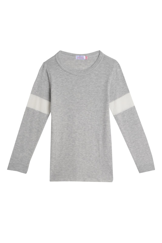 Polkadot GIRLS SOPHIA SLOUCHY Crew LS Heather Grey w Cream
