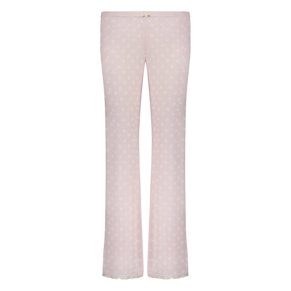 Polkadot PANT Shell Pink Vintage Hearts w Cluny Lace Hems