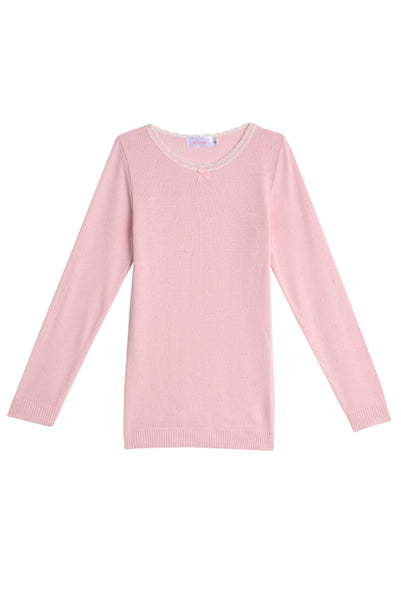 Polkadot GIRLS CREW NECK LS Pink Vintage Hearts w Lace