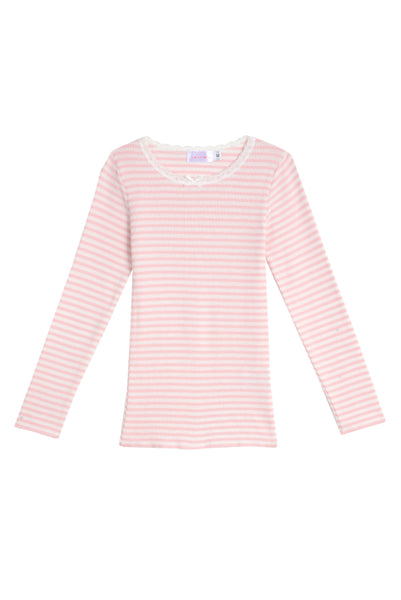 Polkadot GIRLS PJ CREW LS Pink Sailor Stripe w Lace