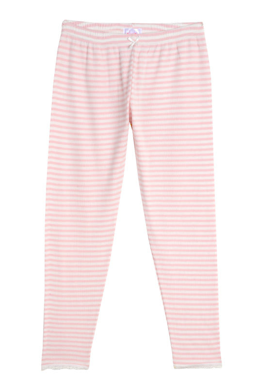 Polkadot GIRLS PJ PANT Pink Sailor Stripe w Lace