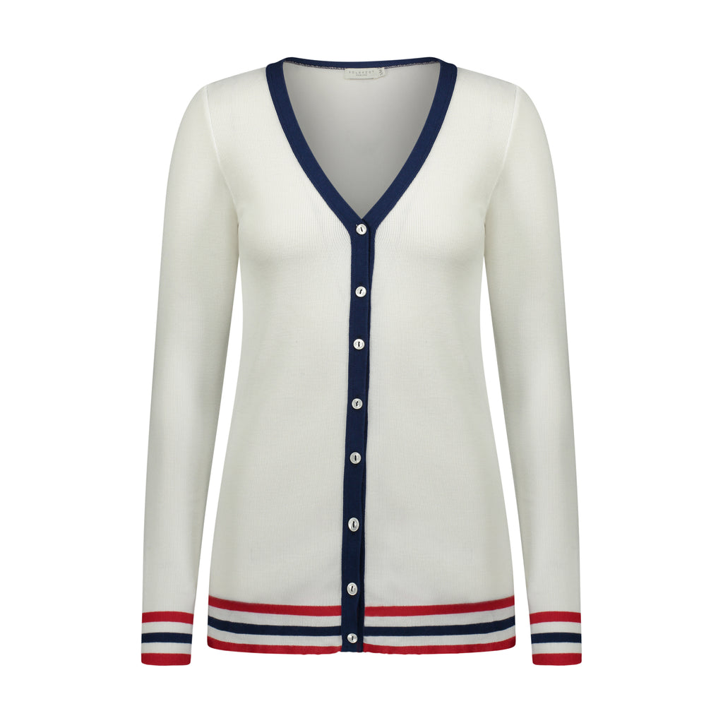 Polkadot CARDIGAN V LS CREAM w Red/Navy