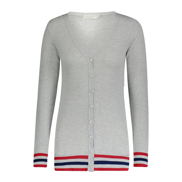 Polkadot CARDIGAN V LS HEATHER GREY w Red/Navy -IN STOCK