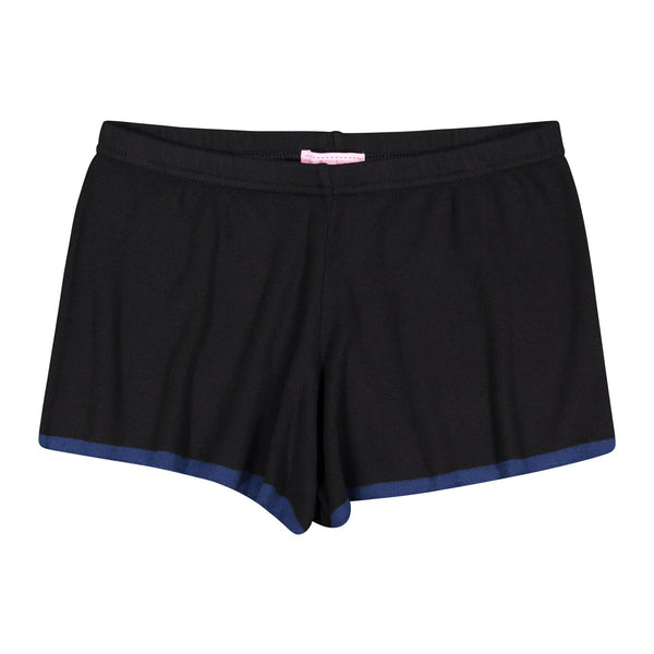 Polkadot SHORT Black w Navy Border Stripe Hem