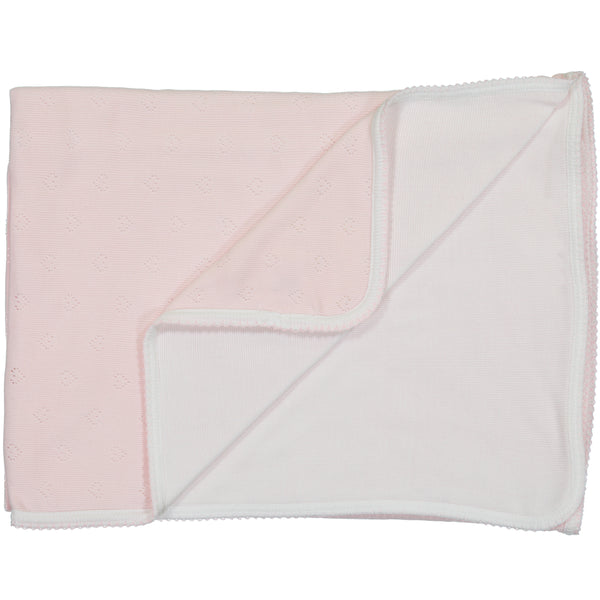 Polkadot BABY BLANKET Shell Pink Vintage Hearts /Pearl White