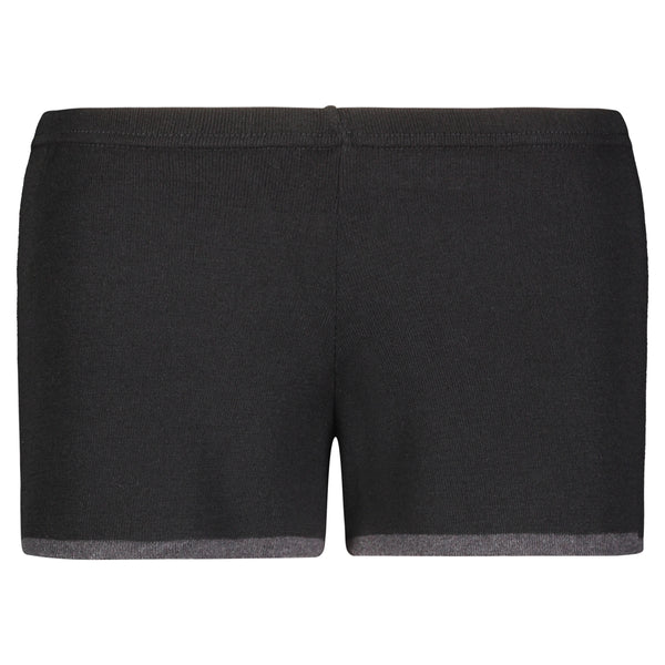 Polkadot SHORT Black w Charcoal Border Hem