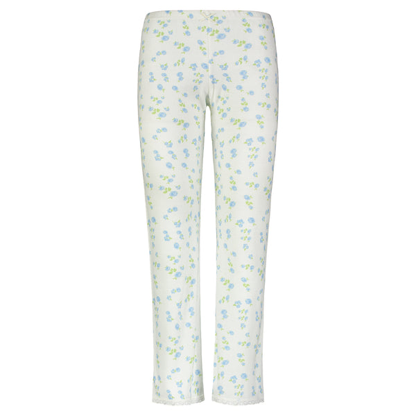 Polkadot Blue Floral Print PANT Mid Rise w Cluny Lace Hems