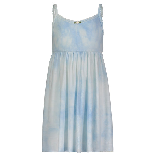 Polkadot GIRLS BABYDOLL DRESS Blue Tie Dye w Lace