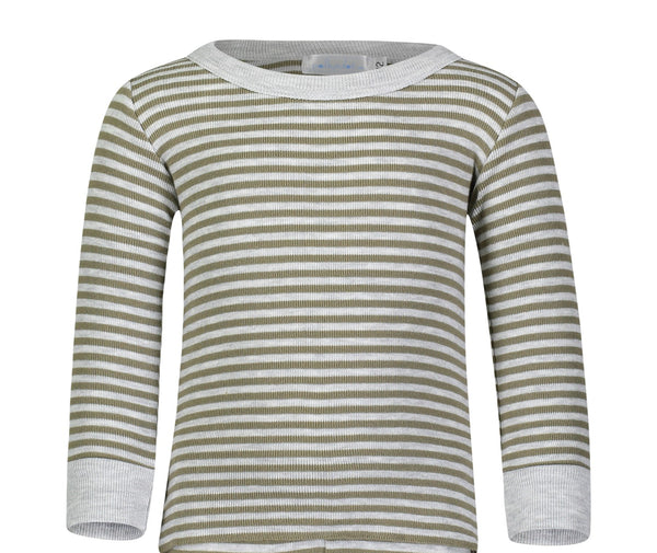 Polkadot BOYS PJ CREW LS Loden /Heather Grey Sailor Stripe