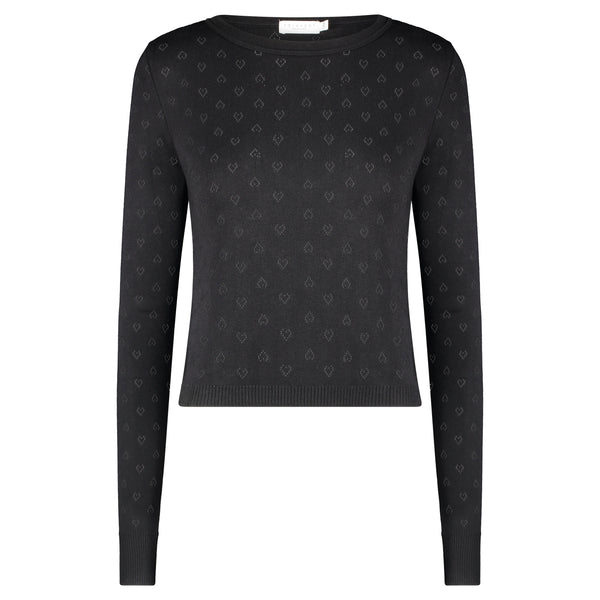 Polkadot PARKER CROP SLOUCHY Crew LS Hearts Pointelle BLACK -IN STOCK